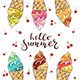 Colorful Ice Cream with Cherry on White Background - GraphicRiver Item for Sale