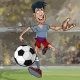 Cartoon Male Soccer Player Running with a Ball