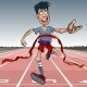 Cartoon Man First Reaches the Finish Line - GraphicRiver Item for Sale