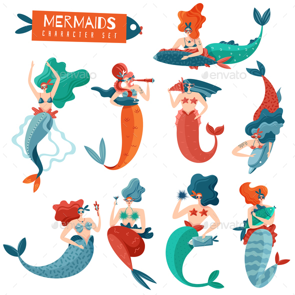 Mermaids Characters Set - Animals Characters