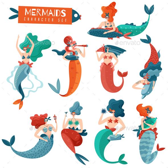 Mermaids Characters Set - Animals Characters