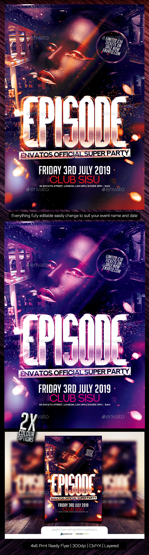 Episode Flyer Template PSD - Clubs & Parties Events