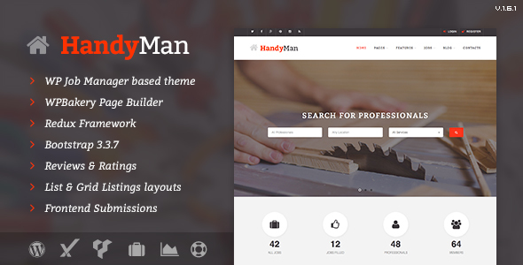 Handyman - Job Board WordPress Theme - Directory & Listings Corporate