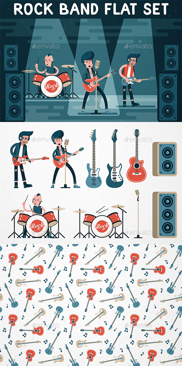 Rock Band Flat Set - People Characters