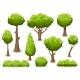 Cartoon Bush and Tree Set