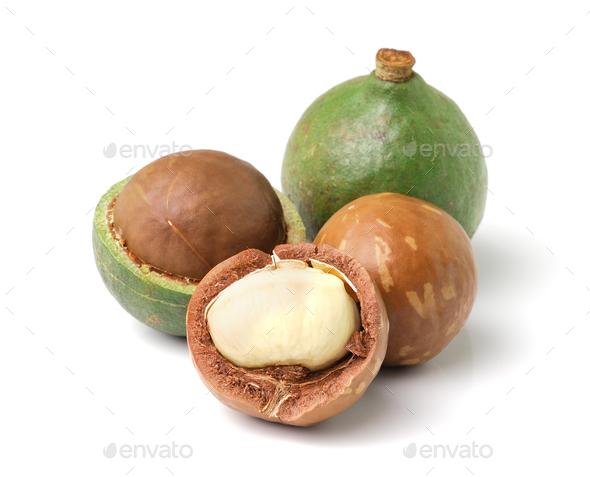 macadamia nuts on white background - Stock Photo - Images