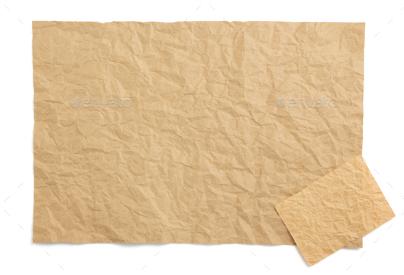 wrinkled paper at white background - Stock Photo - Images