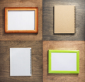 checked notebook and picture frame at wooden background - PhotoDune Item for Sale