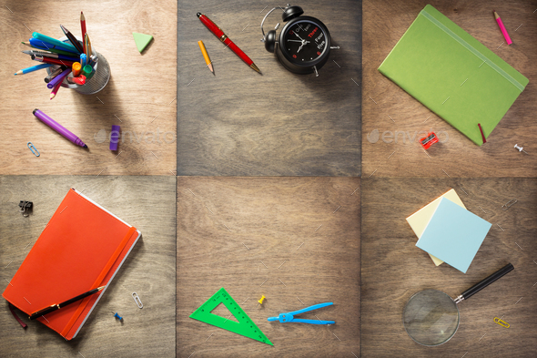 school supplies at wooden background - Stock Photo - Images