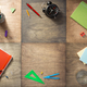 school supplies at wooden background - PhotoDune Item for Sale