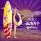 Vector Pop Art Surfing Girl on Holidays