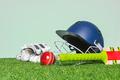 Cricket equipment on grass - PhotoDune Item for Sale