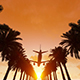 Plane Flying Over Palm Trees - VideoHive Item for Sale