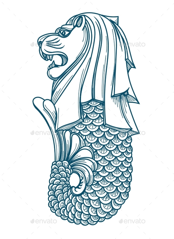 Singapore merlion icon by vectortatu graphicriver for Merlion tattoo images