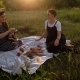 Two Young Women Opening Up a Bottle of Champagne on a Picnic - VideoHive Item for Sale