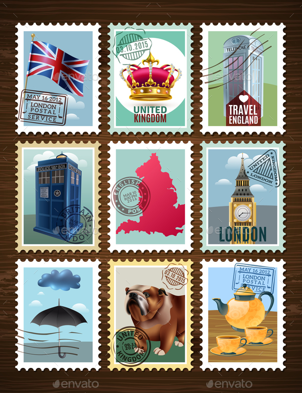 England Posters Set - Miscellaneous Vectors