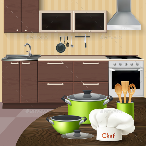 Kitchen Interior With Cookware Illustration - Man-made Objects Objects