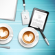 Work Place With Cappuccino Illustration