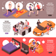 Daily Routine Couple Isometric Banners