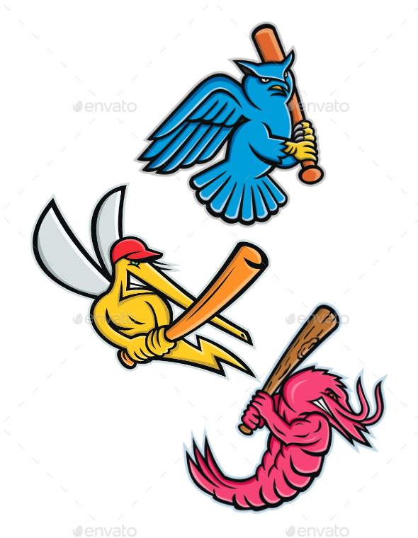 Wildlife Baseball Sporting Mascot Collection - Sports/Activity Conceptual