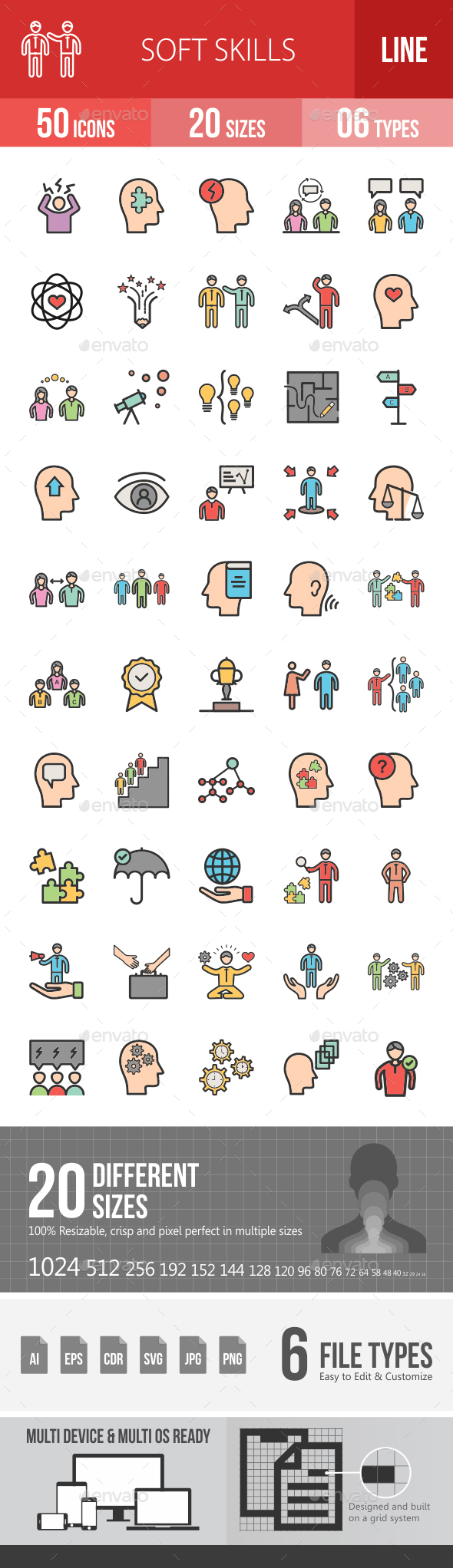 Soft Skills Filled Line Icons - Icons