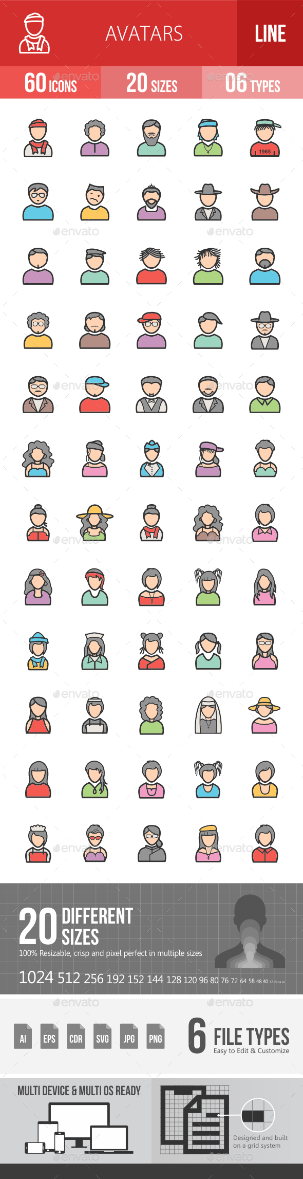 Avatars Filled Line Icons - Icons