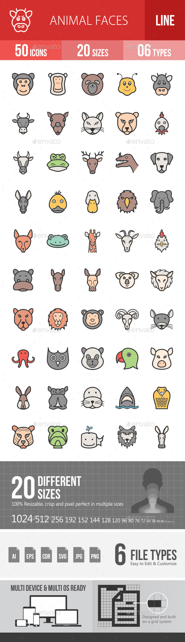 Animal Faces Filled Line Icons - Icons