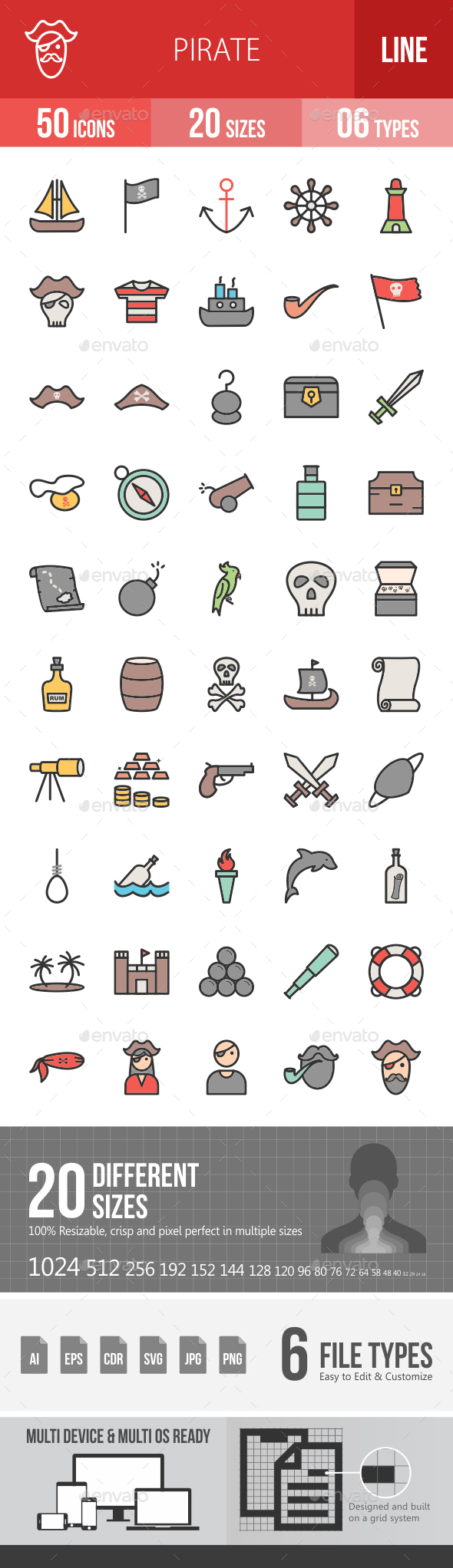 Pirate Filled Line Icons - Icons