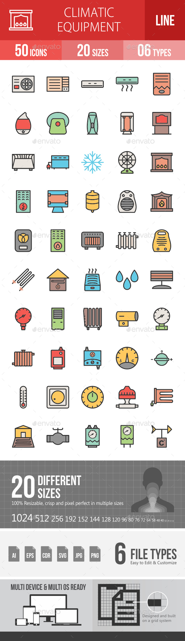 Climatic Equipment Line Filled Icons - Icons