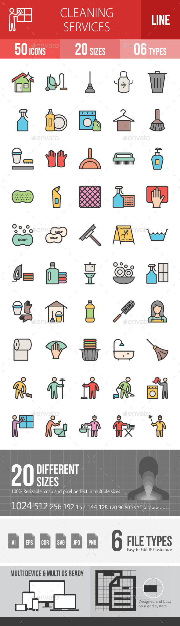 Cleaning Services Line Filled Icons - Icons
