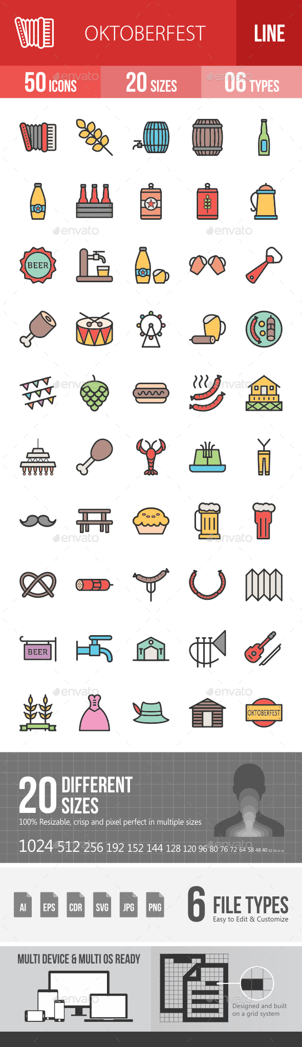 Oktoberfest Filled Line Icons - Icons