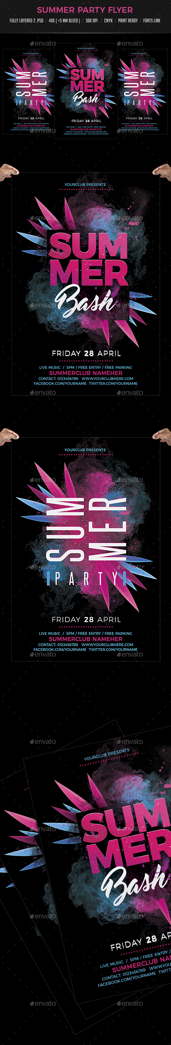 Summer Bash Party Flyer Template - Clubs & Parties Events