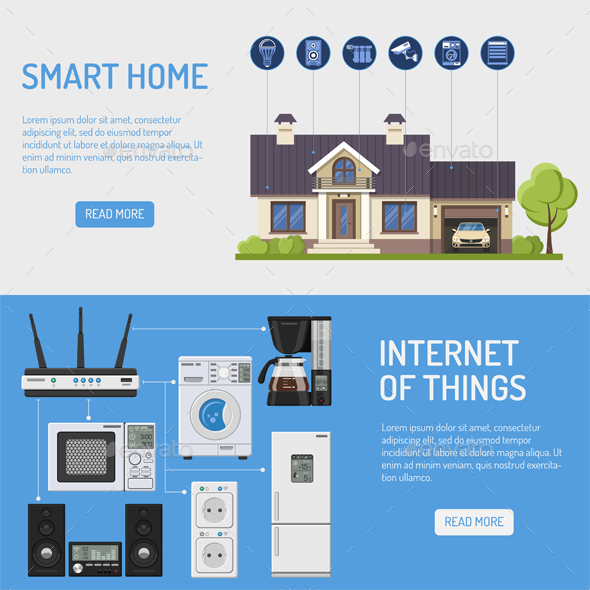 Smart House and Internet of Things Banners - Web Technology