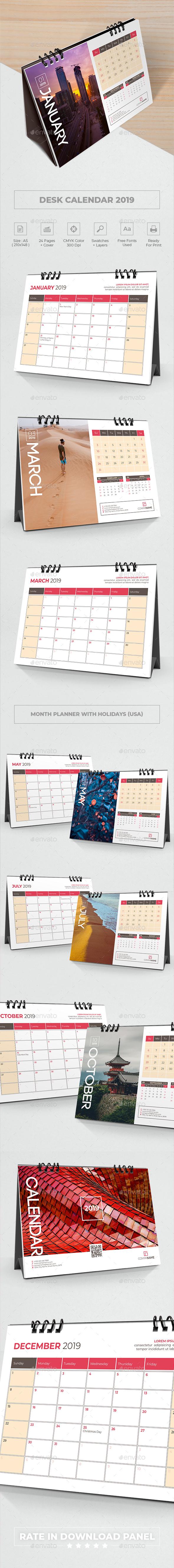 Desk Calendar Planner 2019 - Calendars Stationery