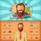 Hipster Man Banner Set Horizontal