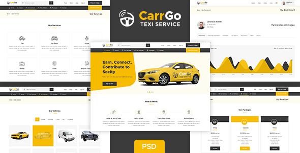 CarrGo - Ridesharing Taxi Psd Template - PSD Templates