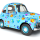 Blue cartoon car with flower print - PhotoDune Item for Sale