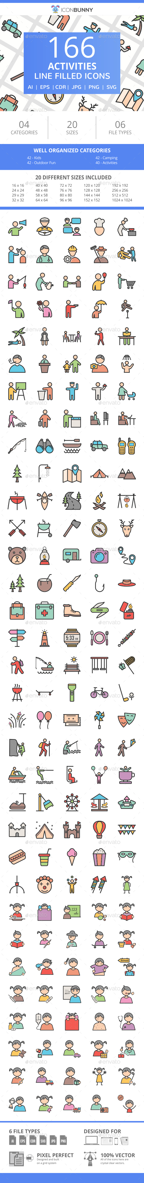 166 Activities Filled Line Icons - Icons