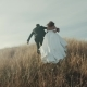 Bride and Groom Running on the Top of Mountain - VideoHive Item for Sale