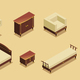 Isometric Hotel Furniture Elements Set