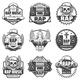 Vintage Monochrome Rap Music Labels Set