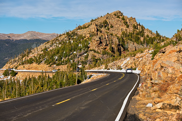 Highway In Alpine Tundra Rocky Mountains Colorado Stock Photo By