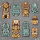 Vintage Colored Aztec Masks Set