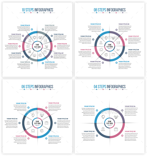 Business Circle Infographics (04 to 10 Even Steps) - Infographics