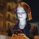 Portrait of Happy Young Woman Listening To Music on Smartphone in City at Night. City Street - VideoHive Item for Sale
