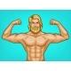 Vector Pop Art Naked Bearded Athlete