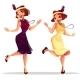 Jazz Dancers Women in Cabaret Vector Illustration