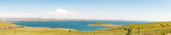 Panoramic view of the Sterkfontein Dam in the Free State - Stock Photo - Images