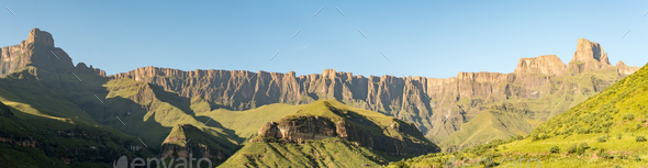View of the Amphitheatre in the Kwazulu-Natal Drakensberg - Stock Photo - Images