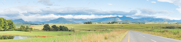 Panoramic landscape on the P317-road to Garden Castle - Stock Photo - Images